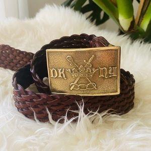 DKNY brown woven belt brass buckle Vtg leather
